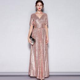 chiffon hochzeitskleid tropfen ärmel Rabatt Neue Ankunft Frauen Sexy V-ausschnitt Kurzen Ärmeln Pailletten Geraffte Mode Lange Party Prom Runway Kleider