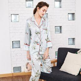 HOT Silk Nightwear Ladies Pajama Set Women Sexy V-neck Tops + Long Pants  Printed Nighties Sleepwear Home Wear autumn bd0cf3178
