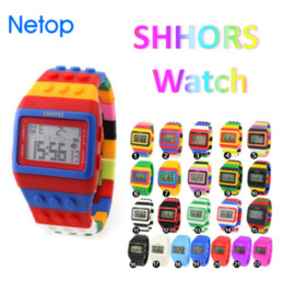 Wholesale Nice Apple - Netop Shhors Digital LED Watch Rainbow Classic Colorful Stripe Unisex Fashion Watches Good for Swimming Nice Gift For Kid Free DHL