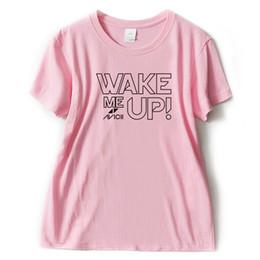 розовые майки dj Скидка Женская футболка Wake Me Up Dj футболка девушки и женщины с коротким рукавом футболка Harajuku Hipster горячие продажа письма печати женская модный розовый футболка