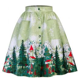 платья дамы платья до колен Скидка 2018 новая мода женские юбки Рождественская тема хлопок карманы зеленый длина до колена дамы кнопка повседневная одежда линия мини-платье FS3654