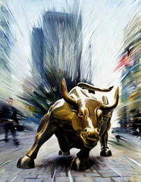 Wholesale Bull Canvas Painting - Contemporary Giclee Print Art Wall Street Bull Fierce Abstract Modern Painting Canvas picture for Living Room Home Bedroom Decor gift