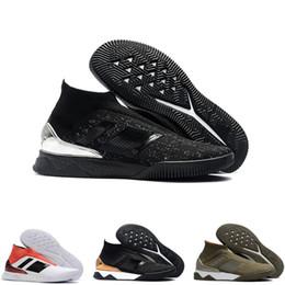 online retailer d1475 6ed44 NOUVEAU ariival aaa qualité hommes chaussures de football à tricoter haute  cheville 18+ TR blanc noir formation intérieure football bottes taille 39-45