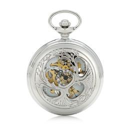 Orologi meccanici a vento online-SHUHANG marca argento classico nero mani meccanico wind up arabo numero romano mens catena di orologio da tasca