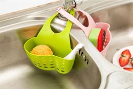 Wholesale Hanging Basket Kitchen - Kitchen Portable Hanging Drain Bag Basket Bath Storage Gadget Tools Sink Holder Drain shelf Kitchen Brush Sponge Sink