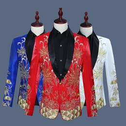Wholesale Men S Wedding Style - Wholesale 2018 flip-up Chinese style Red Blue White Embroidery flower pattern wedding groom outfit Jacket Slim Stage performance clothes