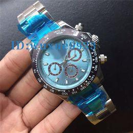 Wholesale Box Calendar - Factory Supplie Luxury Watches Wristwatch In Box Ceramic Bezel 116506 Blue Dial Stainless Steel Bracelet Automatic Mens Watch