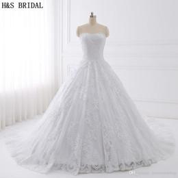 Wholesale Modern H - H&S BRIDAL Luxury Cathedral Train lace ball gown wedding dresses Embroidered Wedding Dresses 2017 Real Photo Wedding Dress Vestido De Novias