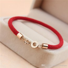 Wholesale Titanium Rope Bracelet Black - Top Quality 316L stainless steel Clasp Red Rope Women Bracelet two designs jewelry Brand name in 16.5cm Free Shipping PS5212