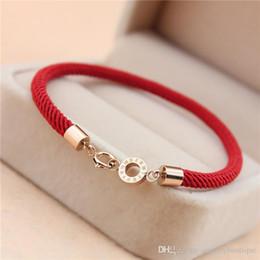2019 titan seil armband rot Top-Qualität 316L Edelstahl Verschluss Red Rope Frauen Armband zwei Designs Schmuck Markenname in 16,5 cm Kostenloser Versand PS5212 günstig titan seil armband rot