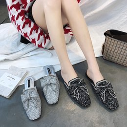 Wholesale Ladies Sequin Shoes - Glitter Sequins slipper shoes With Bow Fashion women slippers Ladies Casual Mules Flats Slip-on shoes loafers New Free shipping no395