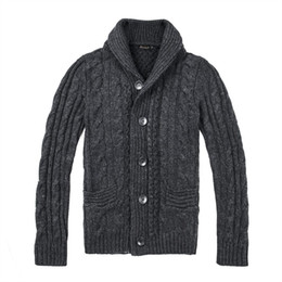 Roupas de roupas tweeds on-line-BOTVELA Tweed De Lã Kint Sweatercoat Homens Queda de Inverno Quente Blusas Único Breasted Cardigan Masculino Roupas 200
