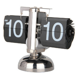 Wholesale Mechanisms For Clocks - Hot Auto Digital Quartz Flip Page Turning Small Scale Table Clock Desk Mechanism Calendar For Home Decoration Black White