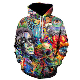 мальчики черепа толстовки Скидка Paint Skull 3D Printed Hoodies Men Women Sweatshirts Hooded Pullover  5xl Qlity Tracksuits Boy Coats Fashion Outwear New