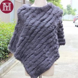 Wholesale Genuine Fur Cape - 2017 New fashion spring autumn Genuine Real Knitted Rabbit Fur Poncho Wrap scarves women natural rabbit fur Shawl triangle Cape