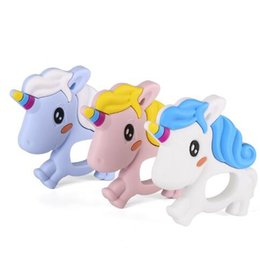 Wholesale Toy Pacifiers - Unicorn Silicone Teether Lovely Baby Chew Bead Silicone Teething Toy DIY Nursing Teether Baby Animal Pacifier Toy Accessories KKA3812