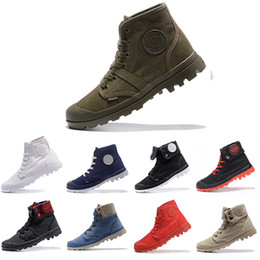 Strass oberschenkel stiefel online-Neue Ankunft Palladium Pallabrouse Männer High Army Military Ankle Herren Frauen Stiefel Leinwand Sneakers Casual Man Anti-Rutsch Schuhe 36-45