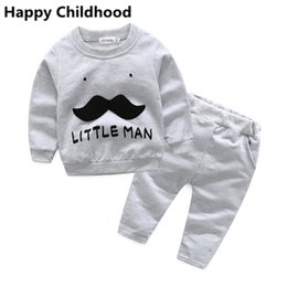 Wholesale Moustache Clothes - 2017 Casual Little Man Baby Clothes 2pcs tracksuit for baby boy girl infant clothing sets moustache patched sweatshirt+trousers