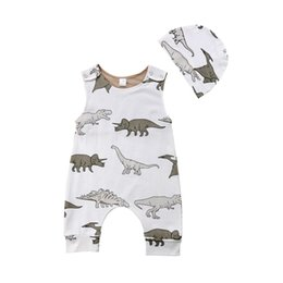 ffa036f6a59 Newborn Baby Boys Dinosaur White Romper With Hat Baby Jumpsuit Sleeveless  Cute Animal Bodysuit Outfit Kid Clothing set 0-24M