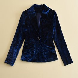 e52e84d30bd KoHuiJoo 2017 Fall Winter Blue Velvet Blazer Women Pockets High Quality one  Button Casual Office Suit Jacket Elegant Blazers