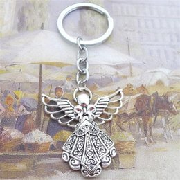 Винтаж Уникальный серебристый ключ пряжки европейского стиля ключевое кольцо Мода Мужчины Женщины пользуются Ангел Труба свет брелки Горячие продажи 5 5lz dd supplier angels trumpet от Поставщики ангел труба