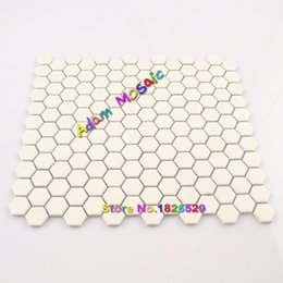 Wholesale Green Wall Deco - Hexagon Tile White Kitchen Backsplash Matt Tiles Mosaic Hexagon Frosted Porcelain Subway Cream Color Wall Deco Materials