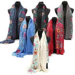 Wholesale Embroidered Long Scarves - Cotton Linen Bohemian Scarf Women Embroidered Flower Vintage Shawl Scarves 68.39*34.59inch Long Scarf Wraps Floral Neckerchief
