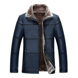 Wholesale Leather Jacket Wool Collar Men - 2017 Winter leather jacket men Thick liner PU Suede faux fur collar Male leather jackets coats Outerwear Parkas
