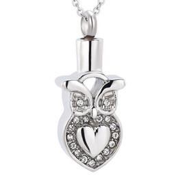 Wholesale Crystal Owl Pendant Necklace - Owl With Crystal Memorial Urn Necklace Pet Human Ashes Funeral Urn Necklace Ash Locket Cremation Jewelry
