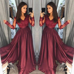Wholesale Custom Pageant Wear - Hot Burgundy Lace Prom Dresses 2018 Sheer Vintage Long Sleeves A Line V Neck Formal Party Wear Prom Pageant Gowns Arabic