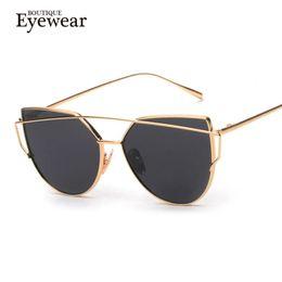 BOUTIQUE New Women 6 Color Luxury Cat Eye Sunglasses Gafas de sol de mujer  de doble piso Alloy Frame UV400 278167731f07
