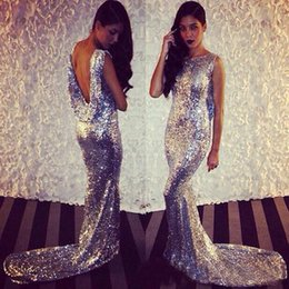 Wholesale Shiny Mermaid Prom Dresses - 2018 Shiny Sequined Evening Dresses Custom Plus Size Sexy Backless Jewel Neck Baby Shower Long Silver Mermaid Celebrity Prom Formal Gowns