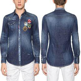 Hombre joven Diseño de Moda Camisa de Mezclilla Hombres Bordado Insignia Patchworks Slim Fitness Jean Shirts Plus 3XL desde fabricantes