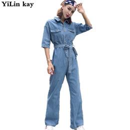 Джинсовый комбинезон с высокой талией онлайн-2018 Newest Jeans loose pants jumpsuit rompers womens jumpsuit  women denim high waist casual overalls jumpsuits