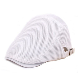 Wholesale protection materials - Unisex Summer Berets Hats 2018 Mesh Material Breathable Outdoors Sports Cap Newsboy Flat Peated Cap Free Shipping