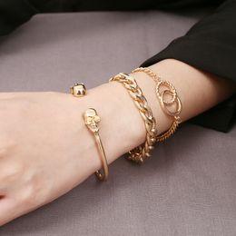 Handgemachte Perlen Schädel Kopf Geflochtene Macrame Charme Wrap Cord Perlen Armband Bangles Einstellbare Seil Schmuck Für Männer Frauen von Fabrikanten