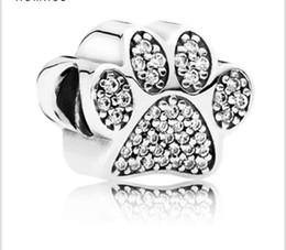 ab4fe7930 Wholesale 10pcs Animal Bear Paw Print Crystal Charm 925 Sterling Silver  European Charms Bead Fit Pandora Snake Chain Bracelets DIY Jewelry
