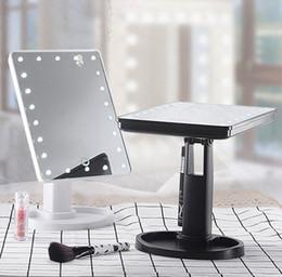 isolierfolienpapier Rabatt LED bilden Spiegel 360 Grad-drehenden beweglichen Spiegel-Schreibtisch-Speicher-kosmetischen Spiegel mit 16 LED-Lichtern 3 Farben YW406