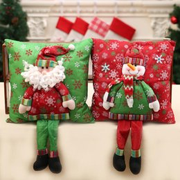 Wholesale cushions for sofa red - Merry Christmas 3d Cushion Santa Claus Cushion With Legs Christmas Decoration For Home Noel Natal New Year Bedroom Sofa Ornament