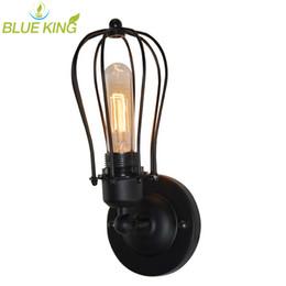 Ferro forjado rústico on-line-Lâmpadas de parede de moda antigo americano lâmpadas de iluminação de ferro luz de parede de ferro forjado rústico varanda iluminação E27 base