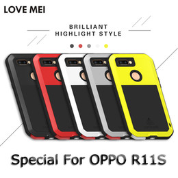 Wholesale oppo case metal - Metal Powerful Shockproof Case for OPPO R11S LOVE MEI Metal Aluminum + TPU Full Coverage Phone Case for OPPO R11S Case Capa
