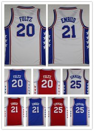 Wholesale Embroidery Basketball Jersey - NCAA Wholesale 2018 Mens Embroidery fan 20# Markelle Fultz 21# Joel Embiid Jerseys Blue Basketball Jersey 25 Ben Simmons shirt Free Shipping