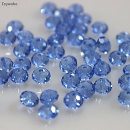 Luce blu colori 4 * 6mm 50 pz / borsa rondelle austria sfaccettato cristallo di vetro allentato distanziatore perline tonde per monili che fanno ordine della miscela 10 borsa / lotto da perline di vetro blu bianco in vetro blu fornitori