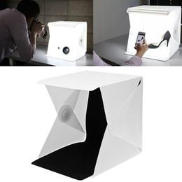imagem dobrada Desconto LETIKE Dobrável Portátil Lightbox Photo Studio Room Luz LED mini Soft Box Câmera Fotografia Fundo Tirar Fotos Tenda Kit