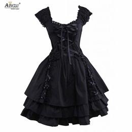 trajes romanos antigos Desconto Das mulheres clássico lolita dress hot gótico preto em camadas lace-up de algodão mangas curtas trajes cosplay lolita dress party halloween