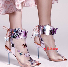 Wholesale open toe heel boots - Sophia Webster Harmony Mesh 3D Butterfly Bootie Rosa Turquoise Orange high heel women's summer peep toe sandals boots zapatos mujers