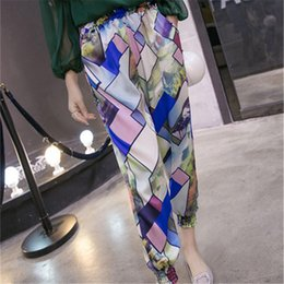 Wholesale chiffon trousers for women - S-2XL Elastic Waist Bohemian Summer Chiffon Pants Women Trouser Female Vintage Geometric Print Pant For Women Beach Trouser