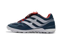 zapatos de fútbol de interior messi Rebajas Botas de fútbol blancas azules de calidad superior Predator Precision IC / TF zapatos de fútbol para interiores 100% original Messi Soccer