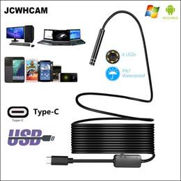 2019 cable de la cámara de inspección de vídeo Cámara de inspección de endoscopio JCWHCAM USB TYPE-C 5.5 / 7 / 8mm 1M 3M 5M Cable de serpiente flexible tipo C Android Endoscopio cámara de video cable de la cámara de inspección de vídeo baratos