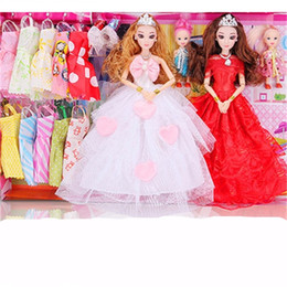 Wholesale dress cat for girls - Barbie Accessories Doll Princess Girl Toy Children Wedding Dress Suit Two Princesses For Kids Christmas Big Gift Box 32pp WW